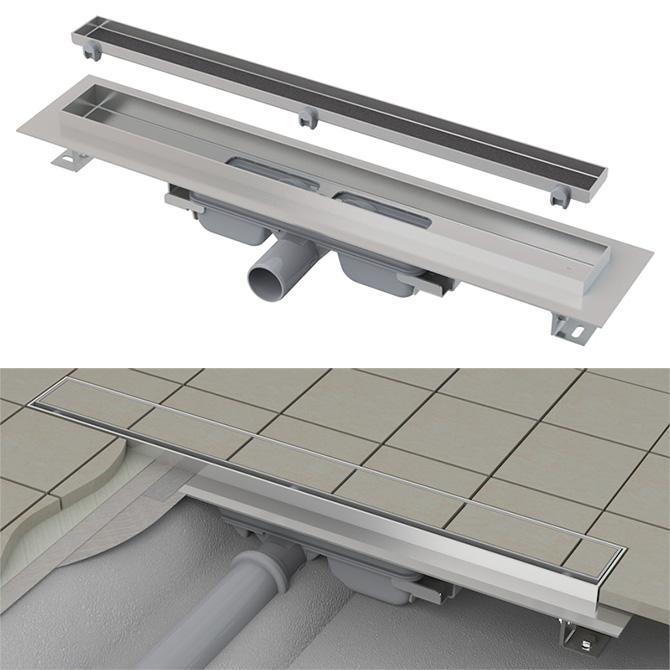 Bodenablauf Duschrinne APZ107 zum Überfliesen mit niedriger Einbauhöhe von nur 80mm mit Rand für Rost und Fliesenverlegung (überfliesbar)