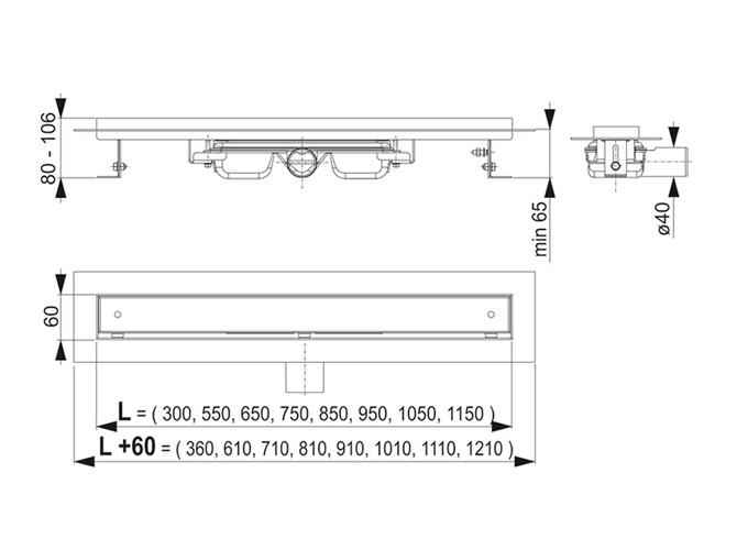 Technische Zeichnung - Maße, Ablaufrinne - Bodenablauf Duschrinne APZ107 zum Überfliesen