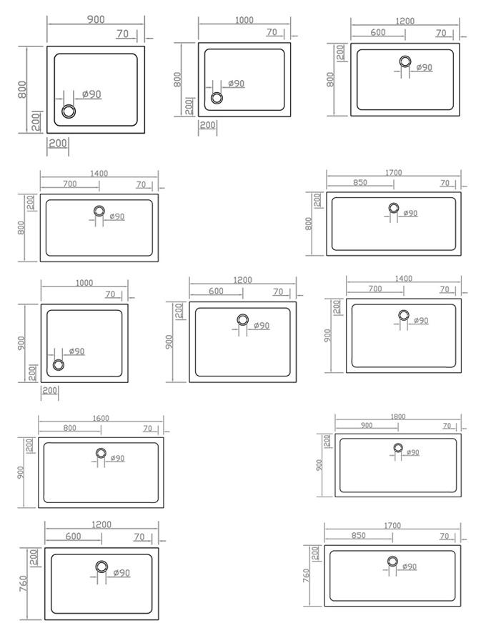 Technische Zeichnung Dusche : Technische Zeichnung Dusche : Technische Zeichnung PLEAN? Duschwanne