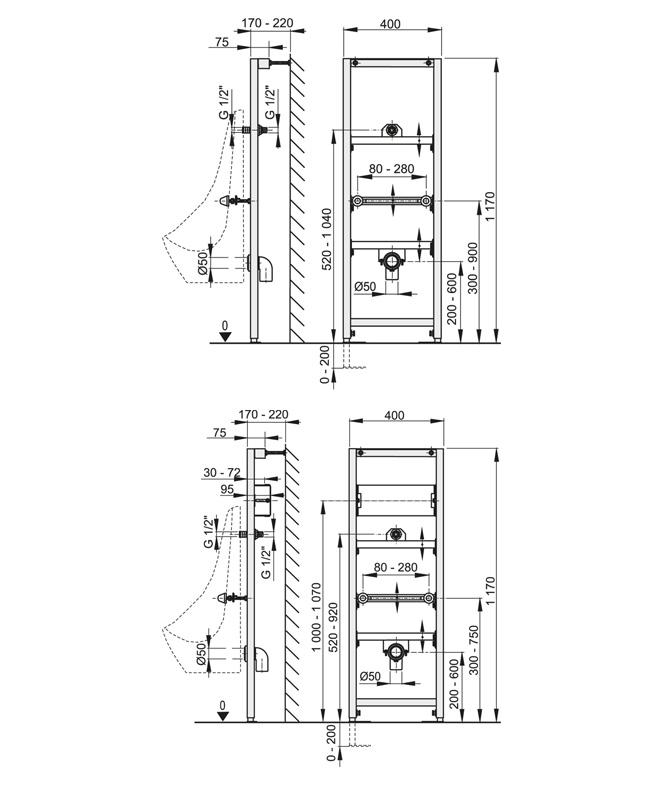 Urinal Vorwandelement Montagerahmen A107 / A107S - 120 cm inkl. SCHELL Eckventil für Wasseranschluss (optional mit Sensor-Montagerahmen)