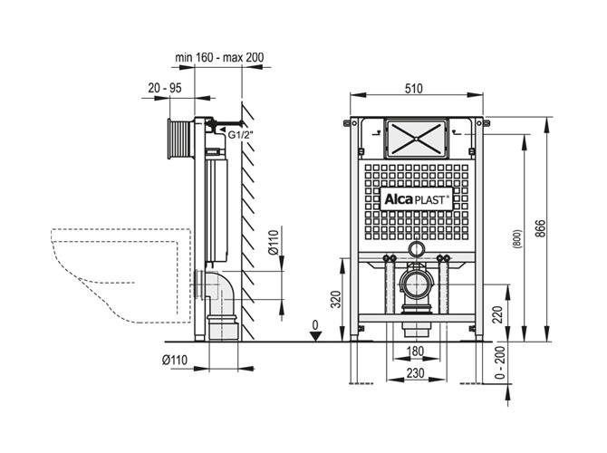 Technische Zeichnung Dusche : WC Vorwandelement A101 – 120 100 85cm – Sp?lkasten Wand WC